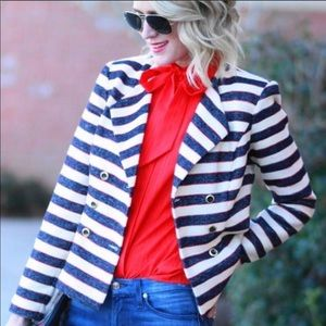 CAbi Striped Double Breasted Cruise Jacket #3094